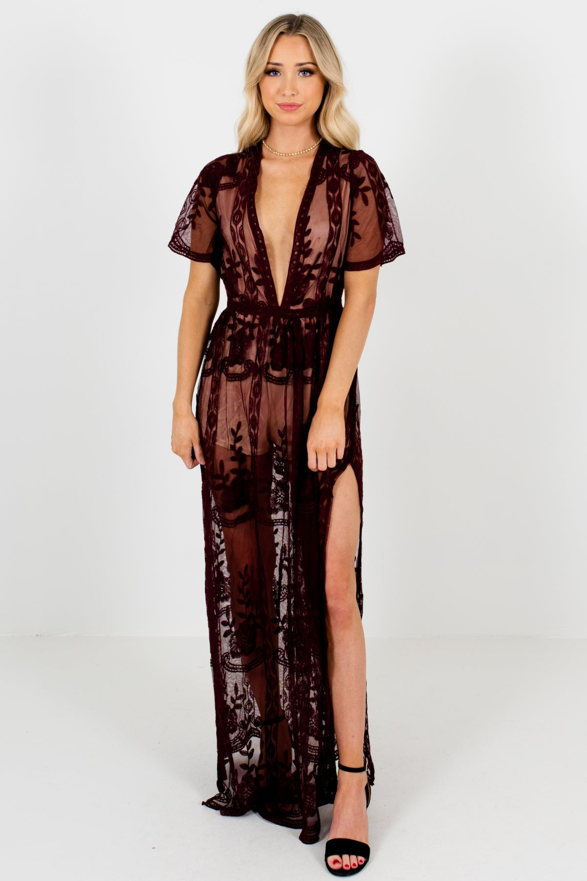 Wine Purple Floral Crochet Lace Overlay Maxi Romper Dresses