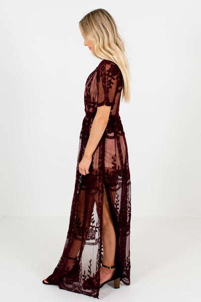 Wine Purple Floral Lace Overlay Nude Romper Dresses