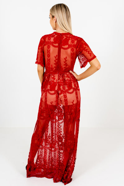 Red Floral Crochet Lace Overlay Maxi Romper Dresses for Women