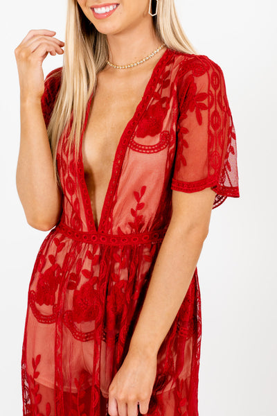 Red Floral Lace Overlay Maxi Length Romper Dresses for Women