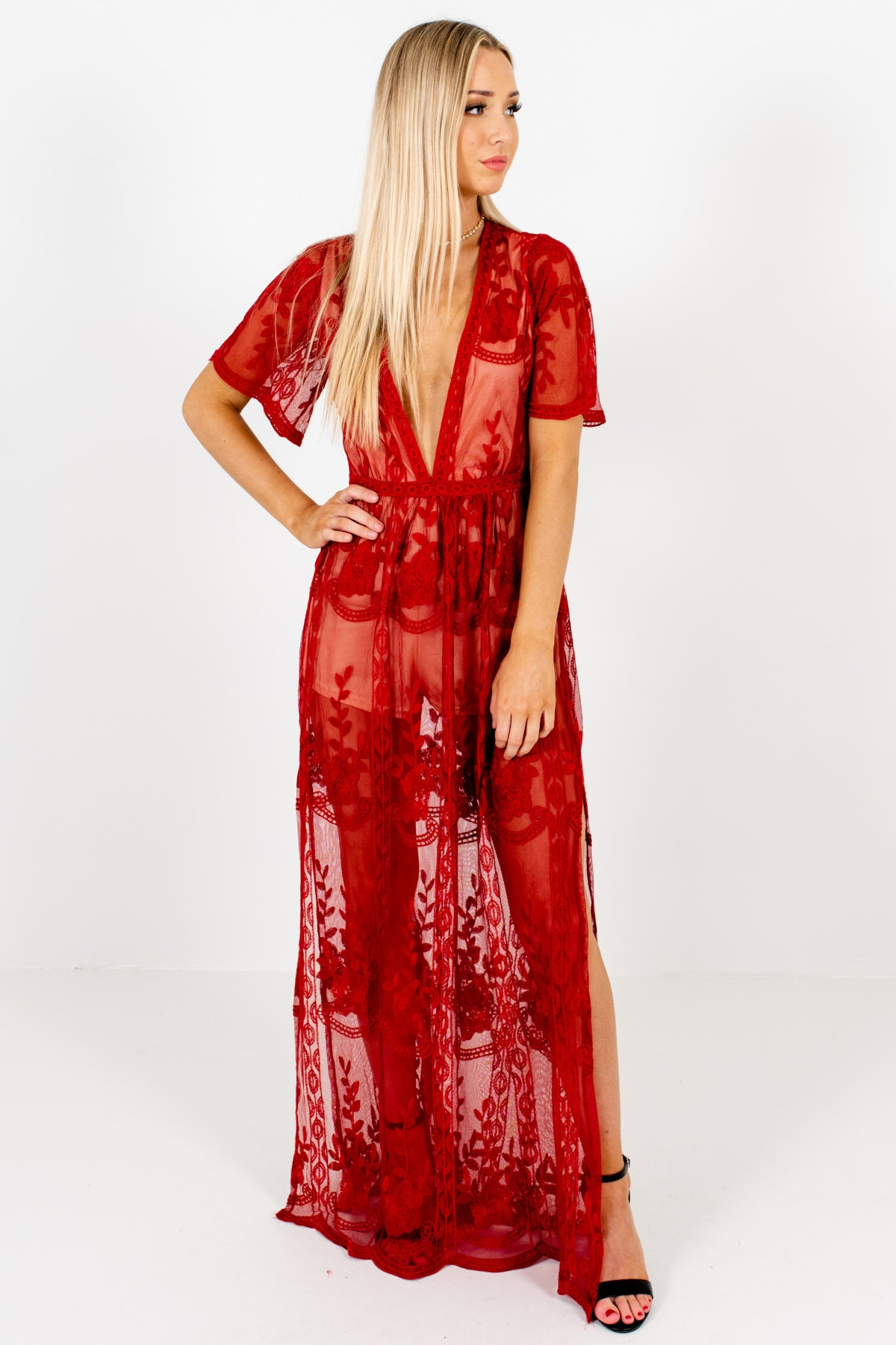 Red Beige Romper Lining Lace Maxi Overlay Romper Dresses
