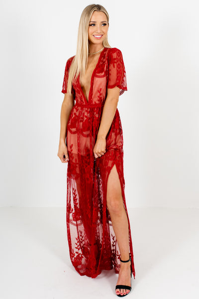 Red Floral Lace Overlay Maxi Romper Dresses Affordable Online Boutique