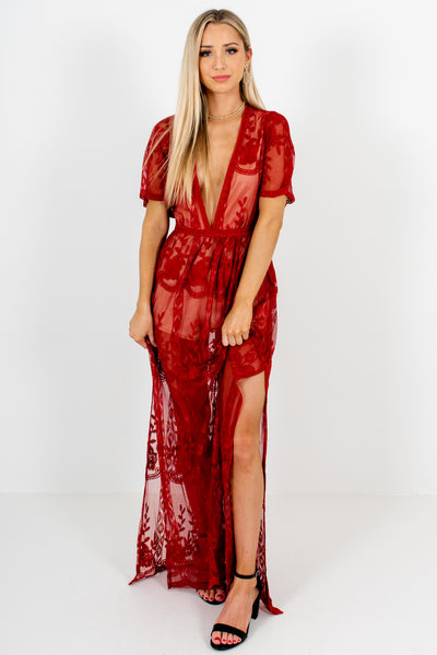 Red Deep V Neckline Lace Overlay Maxi Romper Dresses