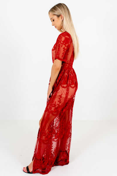 Red Lace Floral Overlay Maxi Romper Dresses Affordable Online Boutique