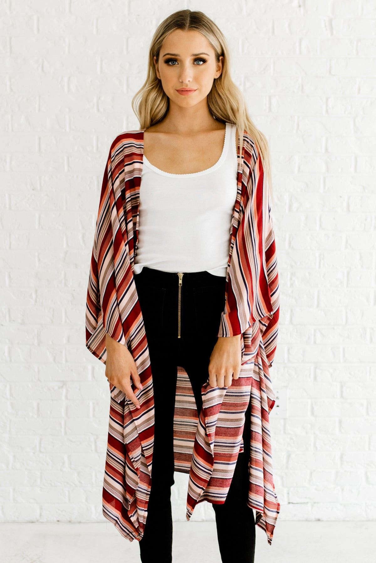 Red Striped Kimonos Womens Affordable Online Boutique