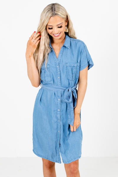 Women's Blue Lightweight Chambray Material Boutique Knee-length Dress