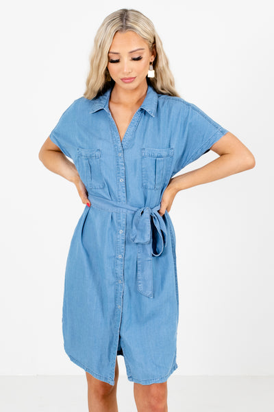 Blue Button-Up Front Boutique Knee-Length Dresses for Women