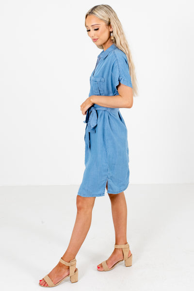Blue Front Pocket Accented Boutique Knee-Length Dresses for Women