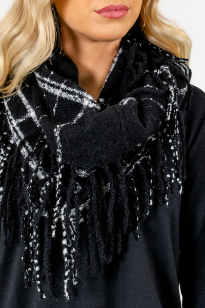 Women's Black Fringe Detailed Boutique Scarf