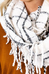 Women's White Fringed Detailed Boutique Scarf