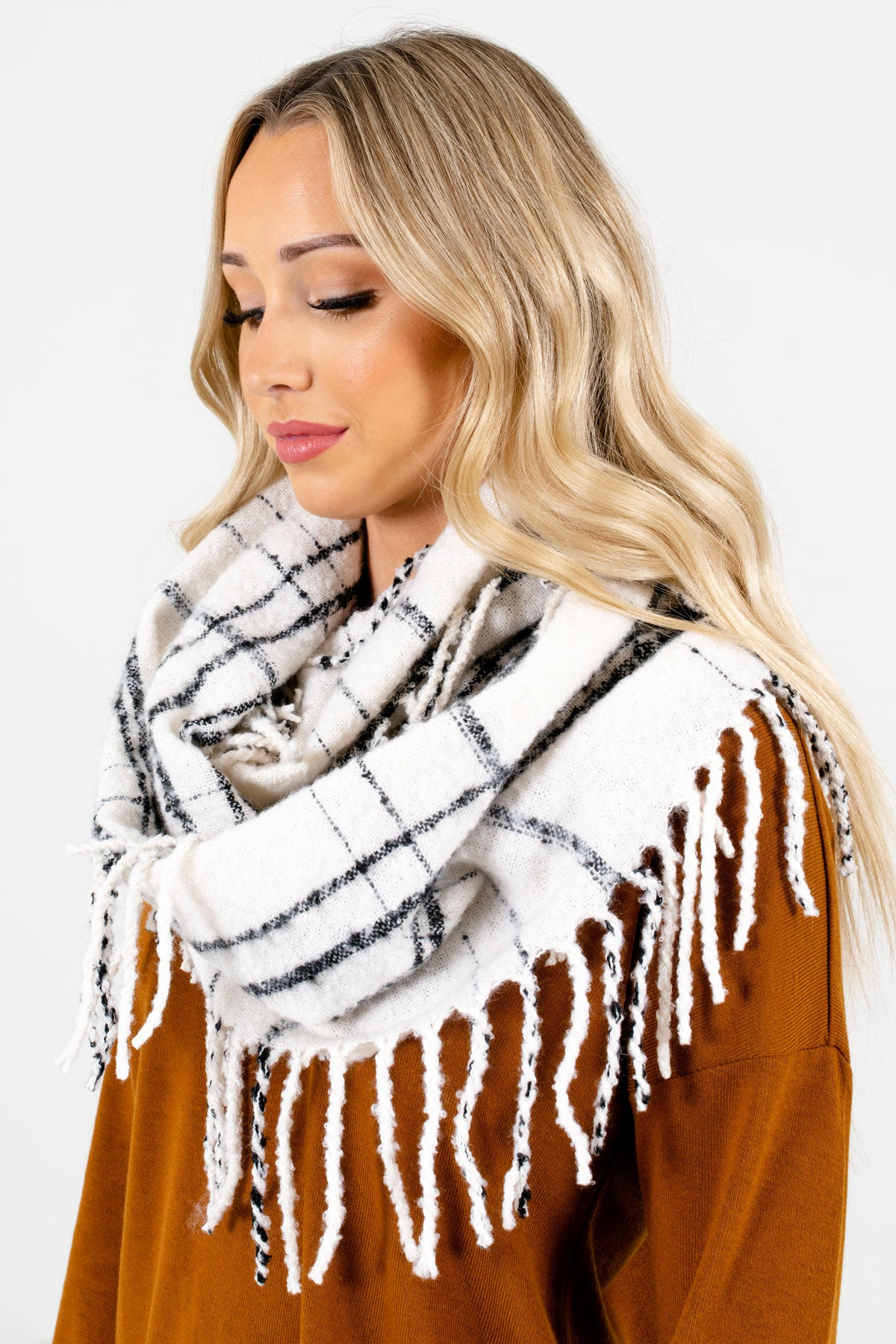 White and Black Plaid Patterned Boutique Scarf for Women