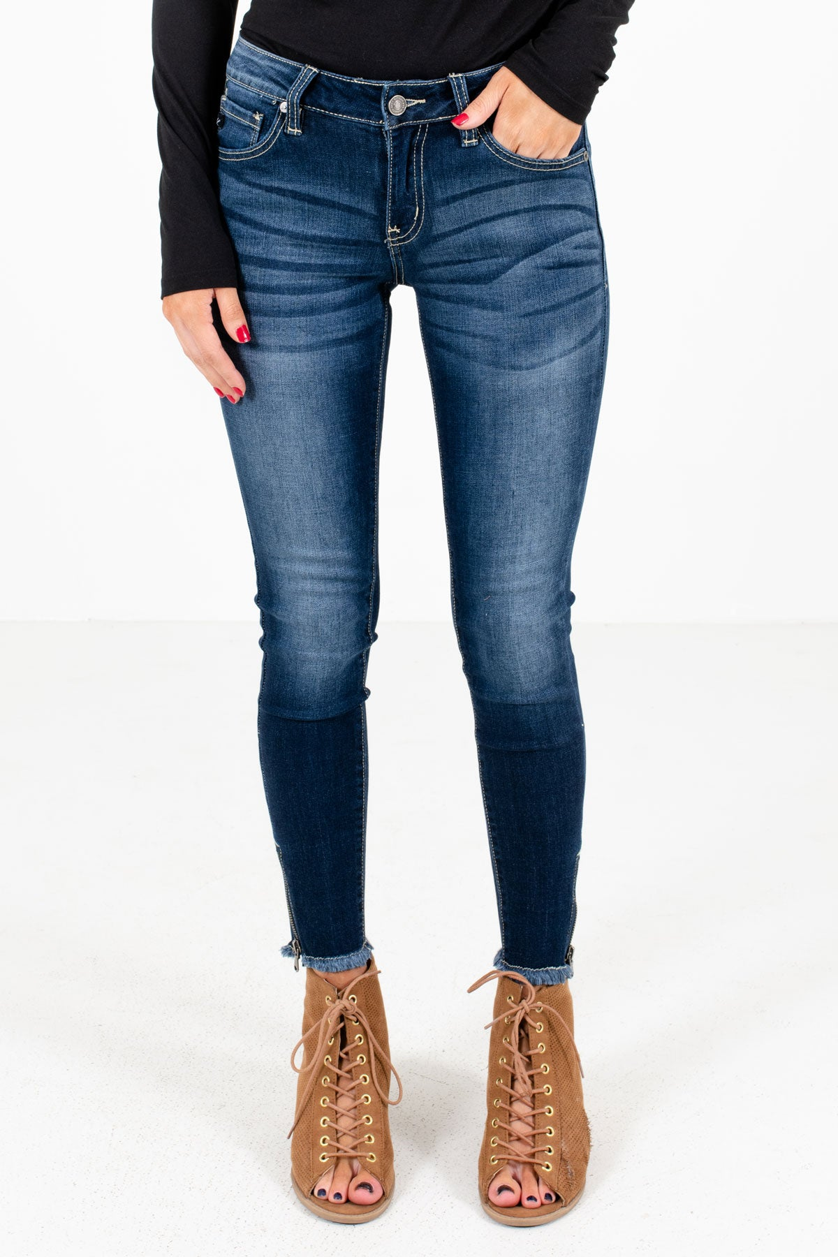 Dark Wash Blue KanCan Boutique Skinny Jeans for Women