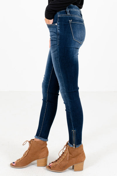 Dark Wash Blue Frayed and Zipper Hem Detailed Boutique Skinny Jeans for Women