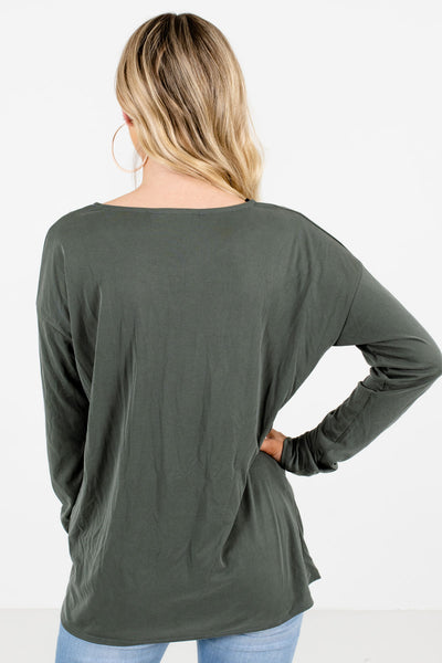 Women's Green Ribbed Material Boutique Tops