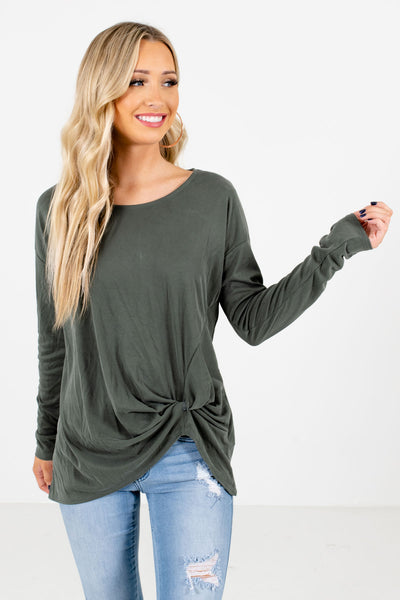 Women's Green Warm and Cozy Boutique Tops