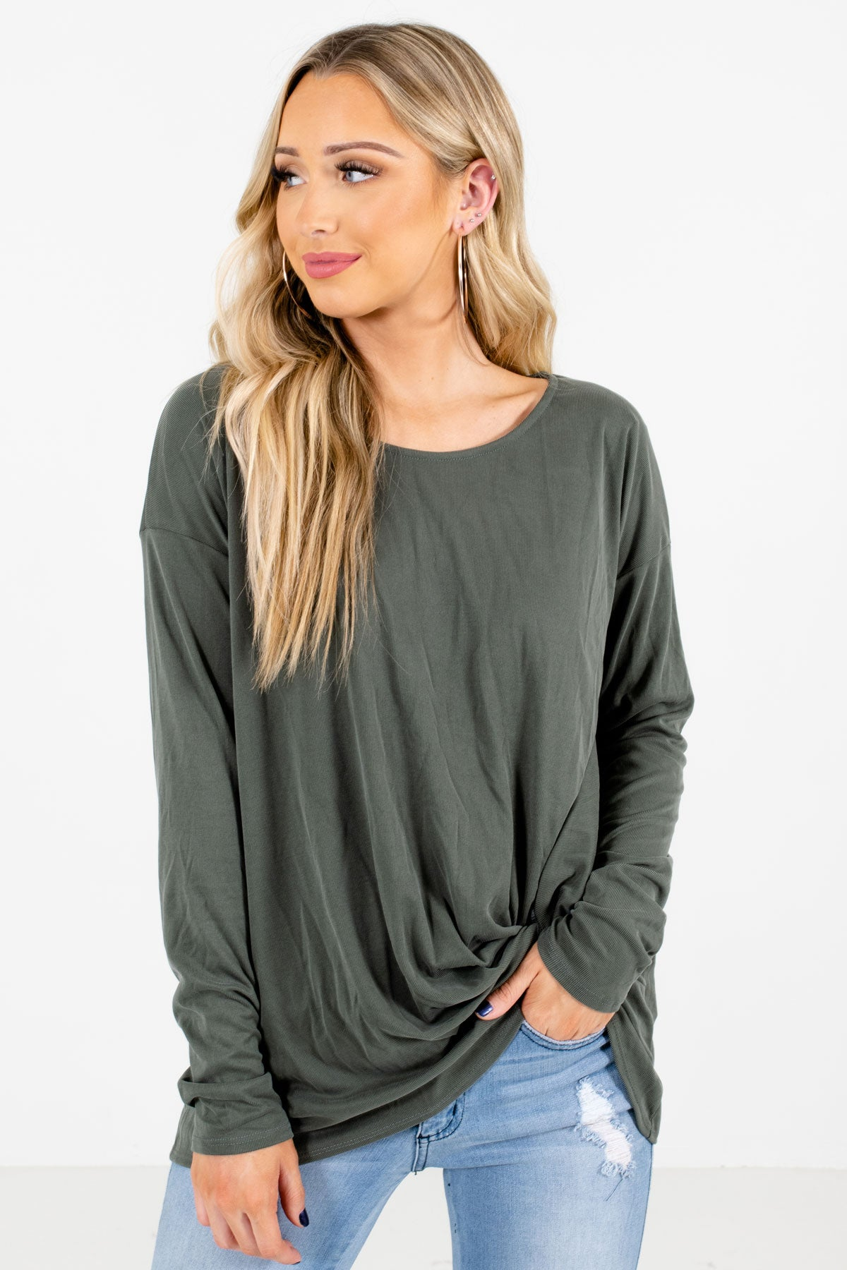 Green Infinity Knot Detail Boutique Tops for Women