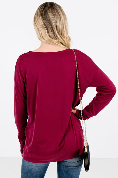 Women's Red Ribbed Material Boutique Tops