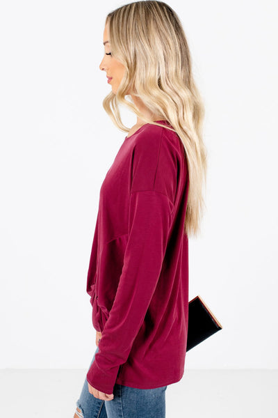 Red Long Sleeve Boutique Tops for Women
