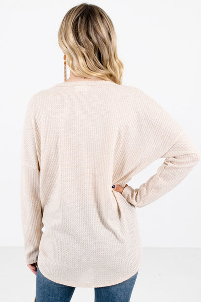 Women's Beige High-Quality Waffle Knit Material Boutique Top