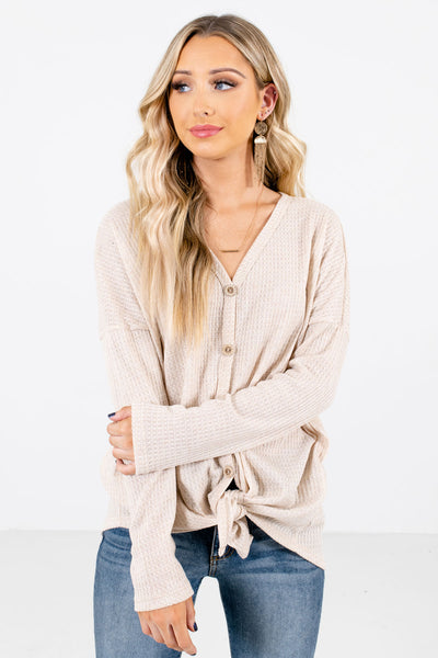 Women's Beige Casual Everyday Boutique Tops