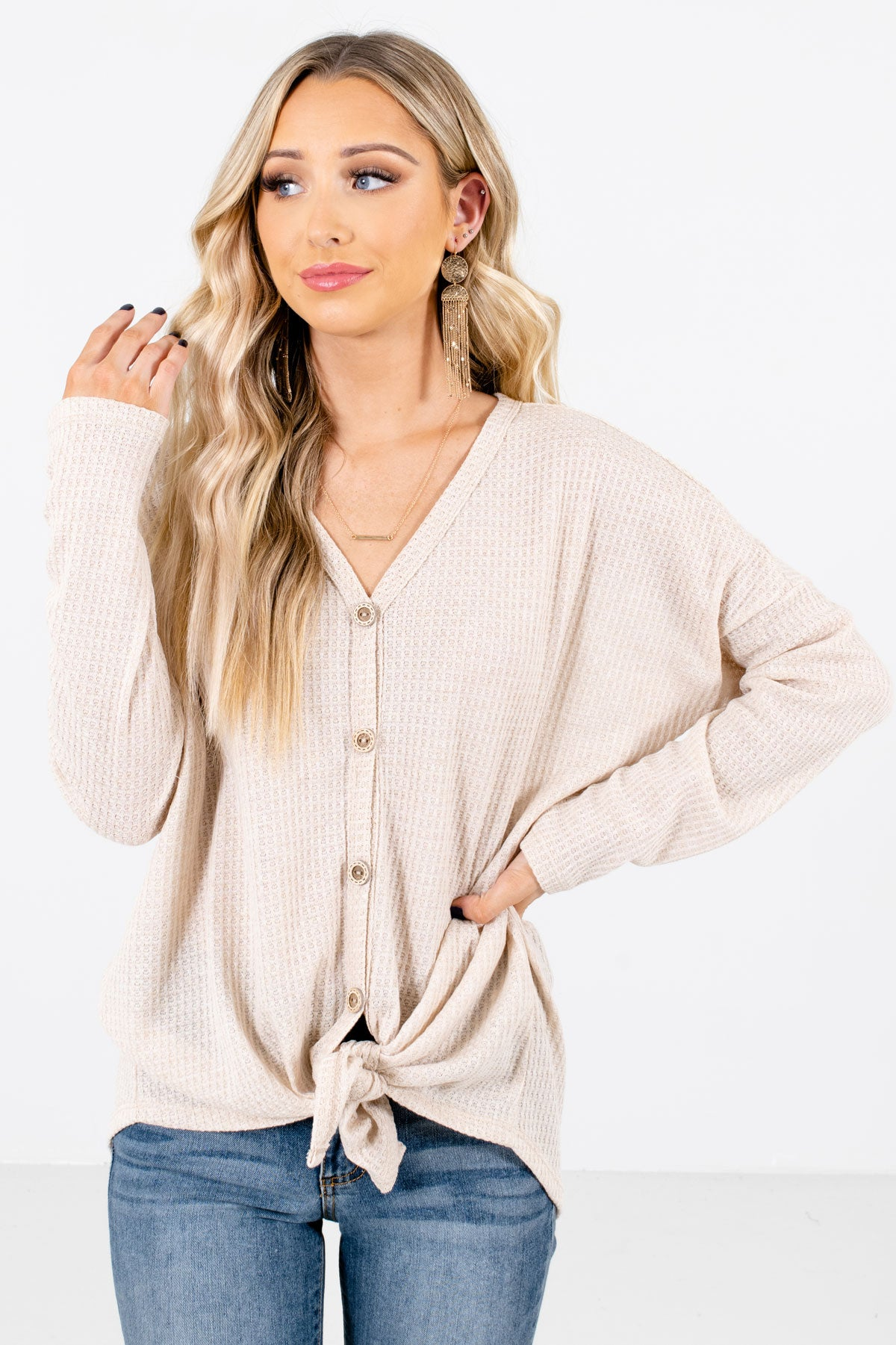 Beige Button-Up Front Boutique Tops for Women
