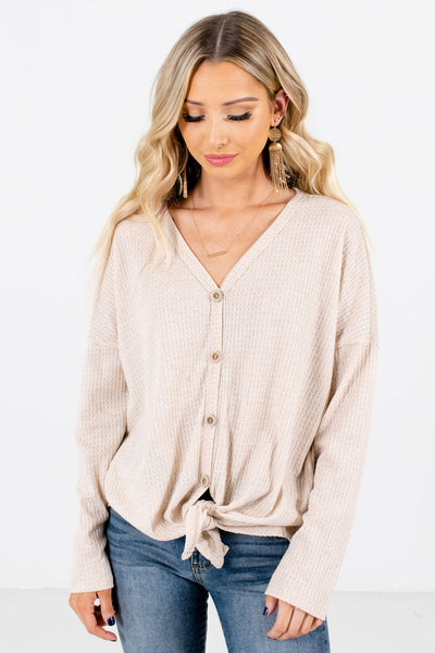 Women's Beige Warm and Cozy Boutique Tops