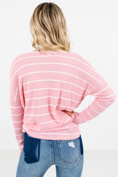 Women's Pink Button-Up Front Boutique Top