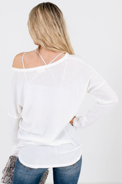 Women's White High-Quality Waffle Knit Material Boutique Top