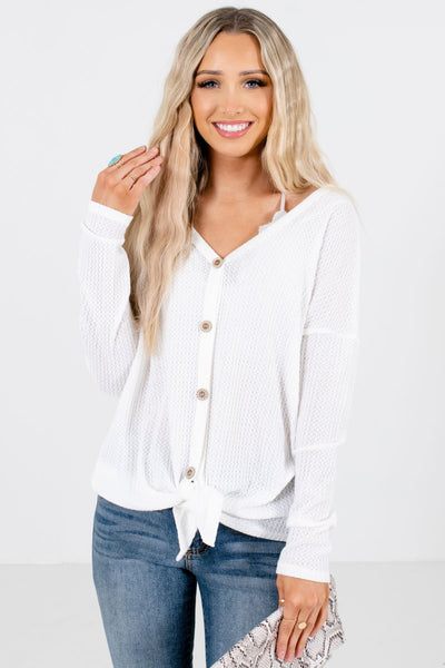 White Button-Up Front Boutique Tops for Women