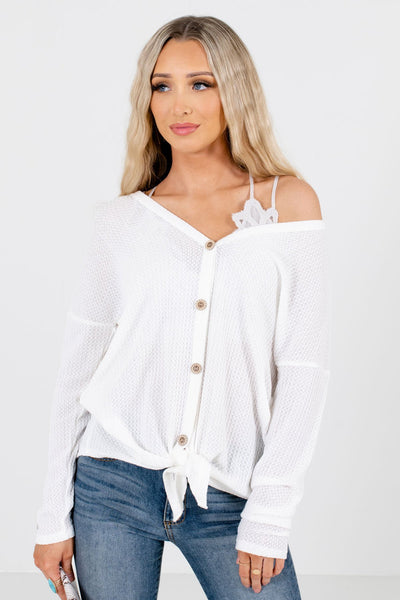 Women's White Warm and Cozy Boutique Tops