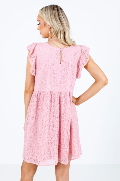 Women's Pink Keyhole Back Boutique Mini Dress