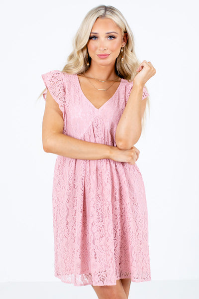 Pink V-Neckline Boutique Mini Dresses for Women