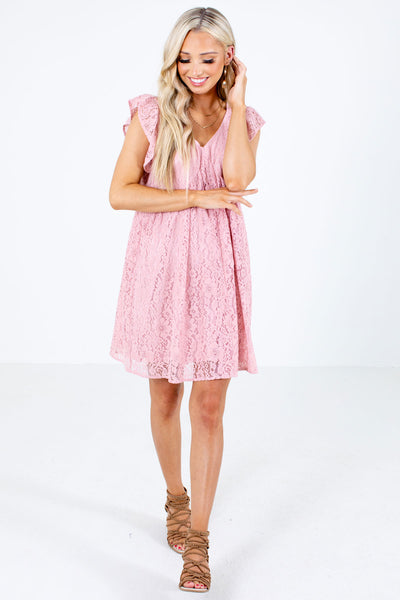 Women's Pink Flutter Sleeve Boutique Mini Dress