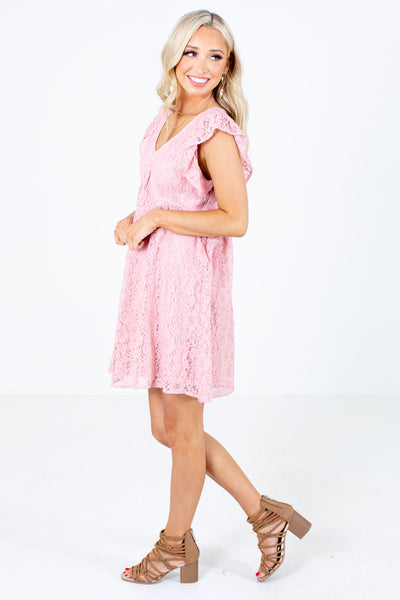Pink Lace Overlay Boutique Mini Dresses for Women