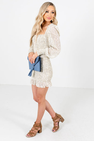 Women's Cream Ruffled Hem Boutique Mini Dress