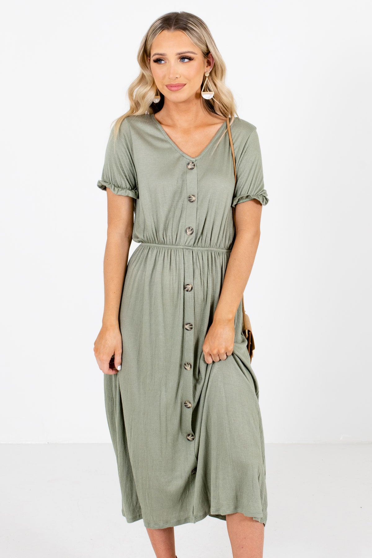 Olive Green Midi Length Boutique Dresses for Women