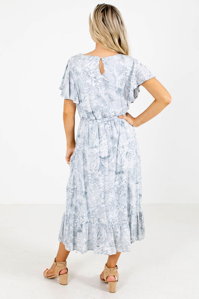 Women's Blue Keyhole Back Boutique Midi Dress