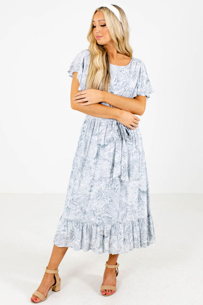 Women's Blue Ruffle Accented Boutique Midi Dress