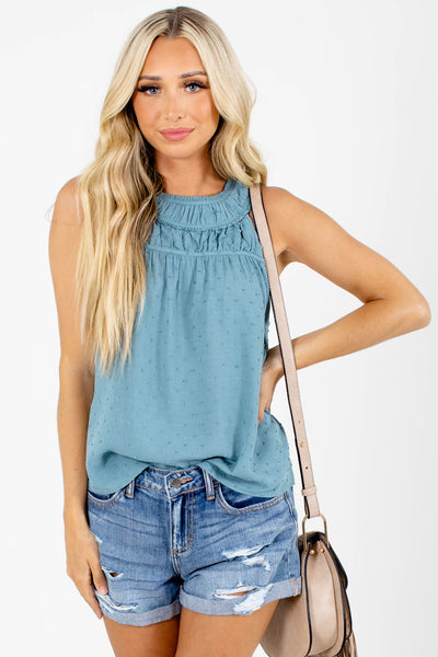 Blue Halter Style Neckline Boutique Tank Tops for Women