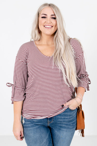 Mauve and Gray Striped Pattern Boutique Tops for Women