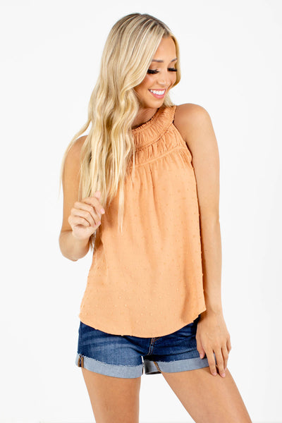 Orange Pleated Accent Boutique Tank Tops for Women