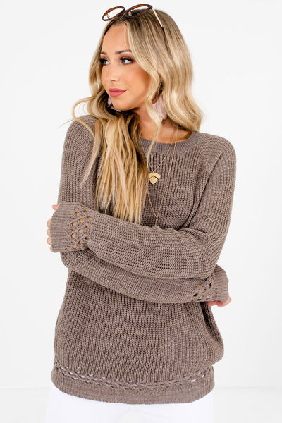 Women's Mocha Brown Casual Everyday Boutique Sweater