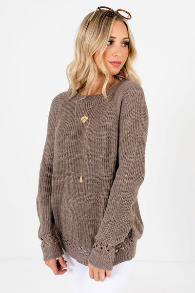 Women's Mocha Brown Layering Boutique Sweater