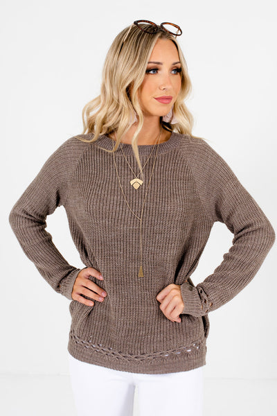 Mocha Brown High-Quality Knit Material Boutique Sweaters for Women