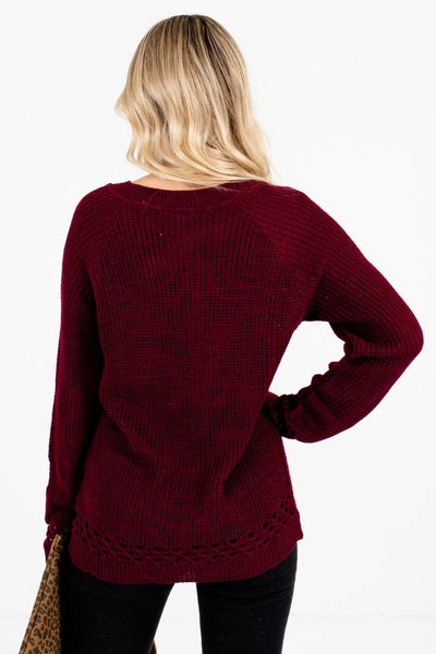 Women's Burgundy Unique Cutout Detailed Boutique Sweater