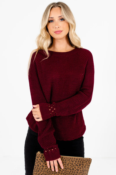 Women's Burgundy Casual Everyday Boutique Sweater