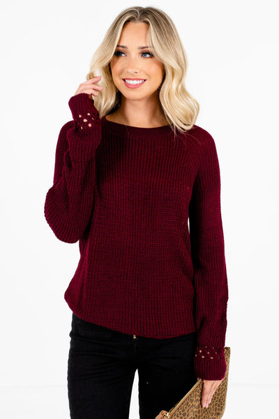 Burgundy High-Quality Knit Material Boutique Sweaters for Women