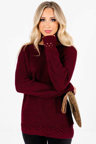 Women's Burgundy Layering Boutique Sweater