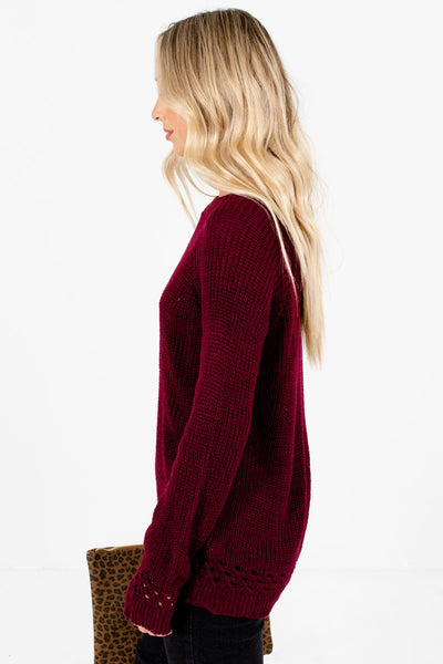 Burgundy Round Neckline Boutique Sweaters for Women