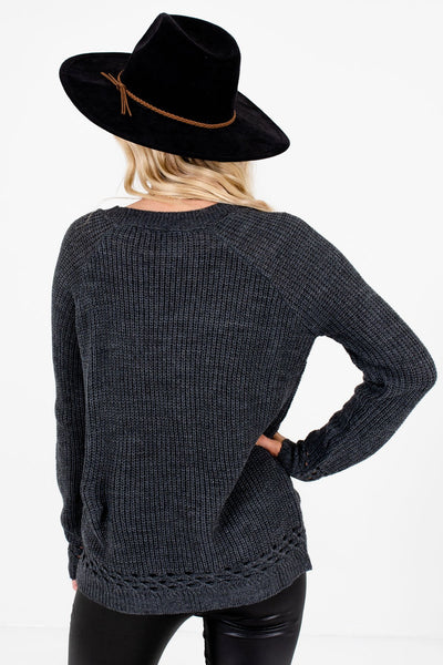 Women's Charcoal Gray Unique Cutout Detailed Boutique Sweater